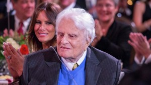 Billy Graham is pictured during a celebration for his 95th birthday in Asheville, North Carolina, in this November 7, 2013 handout photo provided by the Billy Graham Evangelistic Association. U.S. evangelist Billy Graham, who helped transform Christianity in America during seven decades in the pulpit, marked his 95th birthday on Thursday with a rare public appearance among close to 900 people who gathered to celebrate his life. Graham, who is frail but mentally alert, received a standing ovation as he was wheeled into a huge ballroom at the Grove Park Inn in Asheville, North Carolina, a mountain town near the home of the minister. Picture taken November 7, 2013.  REUTERS/Billy Graham Evangelistic Association/Handout via Reuters (UNITED STATES - Tags: SOCIETY RELIGION) ATTENTION EDITORS - FOR EDITORIAL USE ONLY. NOT FOR SALE FOR MARKETING OR ADVERTISING CAMPAIGNS. THIS IMAGE HAS BEEN SUPPLIED BY A THIRD PARTY. IT IS DISTRIBUTED, EXACTLY AS RECEIVED BY REUTERS, AS A SERVICE TO CLIENTS