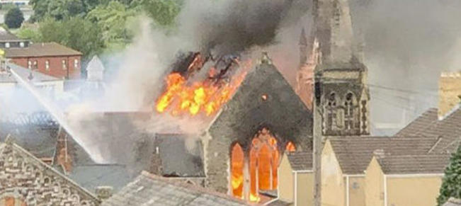 Undated photo taken with permission from the twitter feed of @Katie_Maddocks1 of a fire at the former Zanzibar club and Bethel Community Church in the Stow Hill area of Newport. PRESS ASSOCIATION Photo. Issue date: Saturday June 16, 2018. Fire crews were called to the blaze the disused nightclub and an adjoining church in south Wales at 6.19pm on Friday, authorities said. See PA story FIRE Newport. Photo credit should read: Katie Maddocks/PA Wire  NOTE TO EDITORS: This handout photo may only be used in for editorial reporting purposes for the contemporaneous illustration of events, things or the people in the image or facts mentioned in the caption. Reuse of the picture may require further permission from the copyright holder.